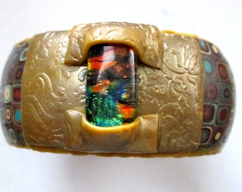 Handmade Dichroic Glass and Klimt Bangle Bracelet, Millefiori Bracelet, Polymer Clay Bangle Bracelet, Gustav Klimt Bracelet, Clay Bracelet