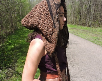Earth toned crochet reversible pixie hood