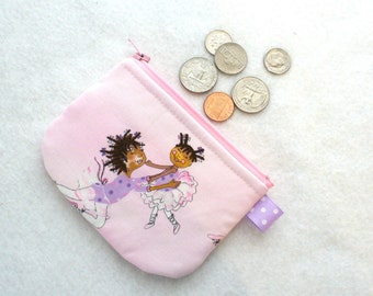 Clearance SALE Girls Mini Coin Purse BALLERINAS Ballet Dancers Pink Purple Little Zipper Change Purse Black African American Mom and Child