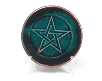 Pentagram Altar Tile Handmade Pottery RAKU