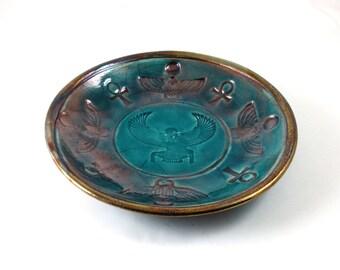 Goddess ISIS RAKU Egyptian Bowl Handmade Ceramic  Pottery