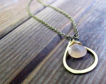Sundrop - Peach Moonstone Necklace - Semi Precious Stone and Brass Teardrop Necklace - Artisan Tangleweeds Jewelry