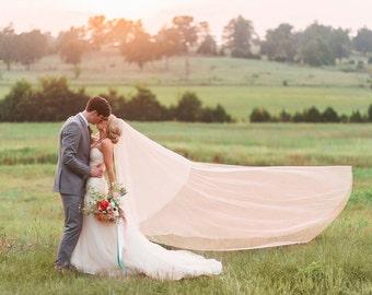 Wedding Veil Gorgeous Chapel Drop Cut Edge, Bridal Veil 36/90CE
