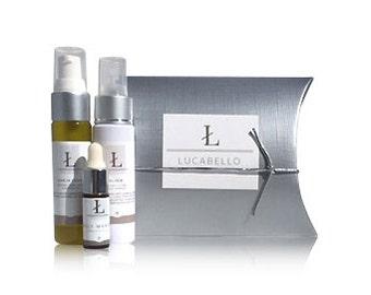 Travel Skincare Set    Daily Essentials Radiant Skin Kit    Cleanser + Toner + Serum