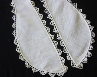 Vintage lappet collar, lace trim lappet, antique bonnet tie, white collar, steampunk trim, re-enactment costume, white collar