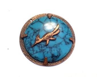 Copper Roadrunner Pendant, Vintage BELL Copper Faux Turquoise Roadrunner Medallion Pendant, Bell Roadrunner, Vintage Southwestern Jewelry