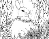 Lovely bunny in the garden colouring page