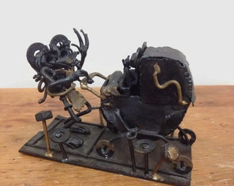 Macabre  Metal Sculpture - Mouse with Baby Carriage - 1970s Retro Art