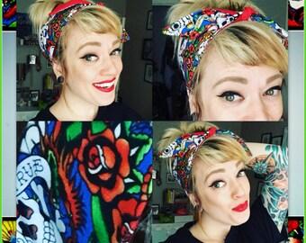 Betty Bandana in Tattoo Print, Red & Blue ....Rockabilly Hair Bandana Bow...New Size and Style