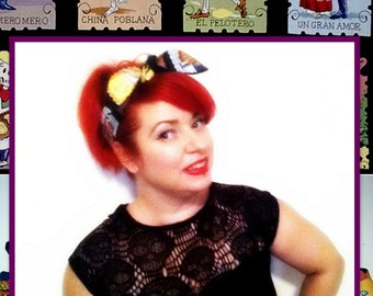 Betty Bandana in Day of the Dead Skeletons in loteria-style cards....New Size & Style
