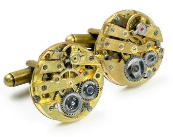 Antique Gold Watch Movement Steampunk Cuff Links