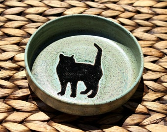 Ceramic CAT Food Bowl - Handmade Speckled Blue Stoneware Bowl - Cat Water Bowl - Black Cat Silhouette - Ready To Ship
