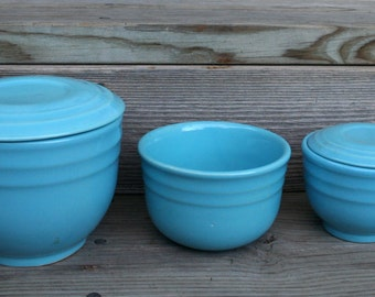 Oxford Ware Robin Egg / Teal Blue Stoneware Nesting Bowls / Set of Three