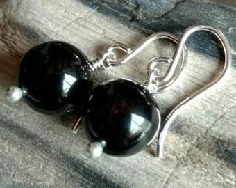 Deepest black onyx simple round stone earrings - handmade gemstone jewelry