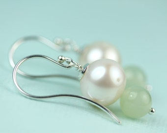 Round Pearl Drop with Jade dangle earrings by art4ear, gift for her, under 50 dollars, Pearl and Jade earings, Free shipping Canada, spring