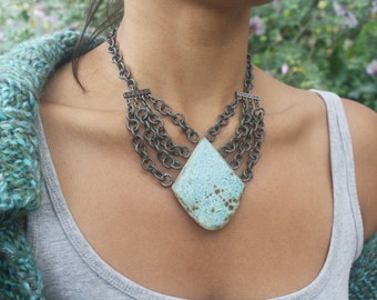 Scarlet necklace in Seafoam