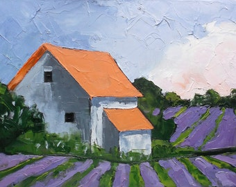 Original Impressionist Painting PROVENCE LAVENDER FARM Landscape Art Lynne French 12x16