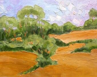 Original Impressionist Painting CALIFORNIA HILLS Eucalyptus Oaks Plein Air Landscape Art Lynne French 11x14