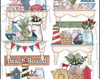 Pretty Beach Shelves Clipart Collection - Immediate Download