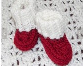 Preemie red with white cut booties