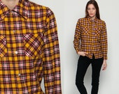 Yellow Flannel Shirt 80s Grunge Plaid Button Up 70s Oversized Lumberjack Vintage Long Sleeve Cotton Brown Red Flanelette Extra Small XS