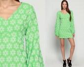 Babydoll Mini Dress 70s Mod Mini Floral Print Boho Empire Waist Bohemian 1970s Vintage Deep V Neck Green Long Balloon Sleeve Large