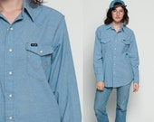 Wrangler Shirt Chambray Shirt Denim Shirt 70s Jean Shirt Pearl Snap Western 1970s Long Sleeve Vintage Cotton Grunge Button Up Extra Large xl