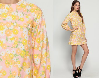 60s Mini Dress Pink Floral Shift Mod Pink Hippie 70s Boho Flower Power Vintage 1970s Long Balloon Sleeve Yellow Bohemian extra Small xs
