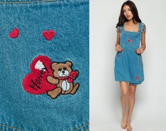 Denim Overall Dress CULOTTES Shorts 90s Mini TEDDY BEAR Heart Jumper Jean 1990s Grunge Romper Blue Vintage Minidress Sleeveless Large