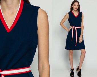 70s Mini Dress Navy Mod Striped Retro 60s Shift Red White Blue Ringer Sleeveless BELTED 1970s Twiggy Vintage V Neck Minidress Large