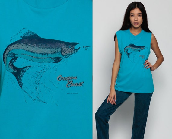 Items Similar To Graphic Tank Top Fish Shirt Oregon Coast