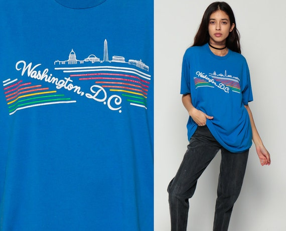 On sale washington dc shirt retro tshirt rainbow stripe 80s for T shirts printing washington dc