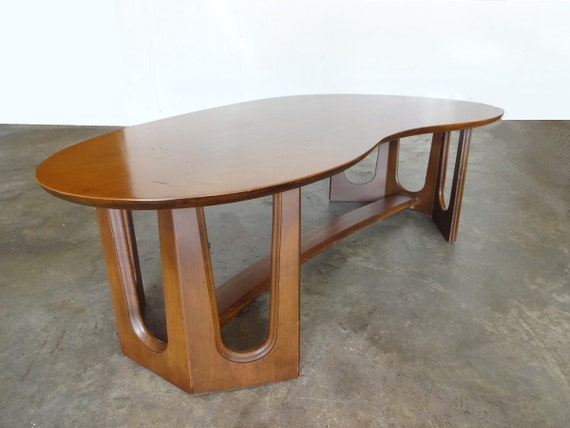 Kidney Shaped Walnut Coffee Table By Selectmodern On Etsy