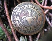 Renaissance Pleasure Faire Brass Brooch Authentic Vintage Ram and Goblet Logo Genuine Historical Aricle