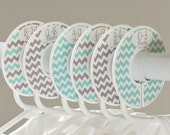 6 custom baby closet dividers (No.162) aqua gray chevron boy newborn nursery clothing organizers school organization Closet Doodles®