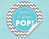 baby shower popcorn box labels (No.R10b2) boy blue gray chevron pop stickers, baby shower labels gonna pop