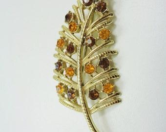 Vintage Autumn Leaf with Orange and Brown Rhinestones Brooch