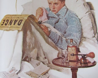 The Cold/Ticket Agent, Norman Rockwell Magazine Cover Prints, 2-Sided Vintage Book Page, Unframed Color Plate, 1979