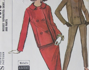 McCalls 7578/Vintage Uncut Sewing Pattern/Misses Lined Double Breasted Jacket, Slim Skirt, Tapered Pants/Size 10-12/Bust 31-32/1964