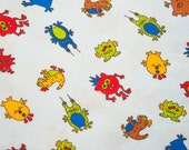 Extra Wide Tossed Monsters Cotton Rib Knit Fabric 1 yd