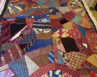 1930s Crazy Quilt Many Deco Prints & Red Chicken Foot Stitching Hand Pieced For Bench Seat/Love Seat