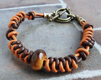 Unisex Brown Leather Bracelet | Two-tone Leather with Tiger Eye Gemstone | Handcrafted Bracelet Gift for Men, Women