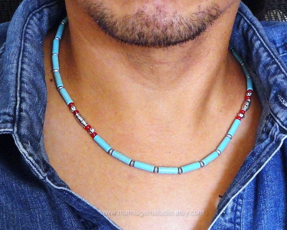 necklace for men teal blue magnesite turquoise amp red coral