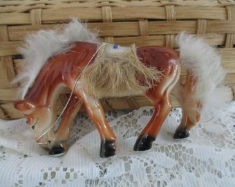Horse Figurine  Beaded Saddle-Feather Mane & Tail Standing Horse  Japan