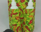 Massage Therapy double bottle hip holster, hot chilis on lime green, black belt