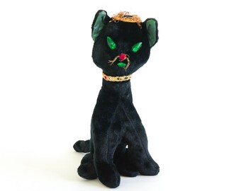 "Vintage 1960s Plush Toy / 60s Black Cat Stuffed Doll / 14""H, Retro Kitsch Halloween Decor"