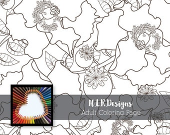 Pretty Poppies Coloring Page~Digital Stamp~Adult Coloring~Printable~Poppy~HLRDesigns
