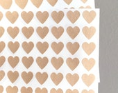 108 Mini Kraft Paper Heart Stickers - Kraft Paper Brown