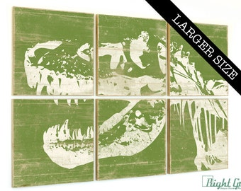 EXTRA Large TRex Dinosaur Print - Large Rustic Art for Kids Room - Custom Made Gift 32x48