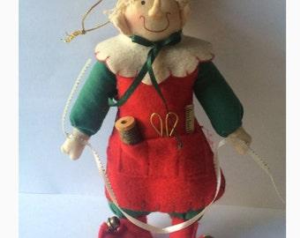 "8"" Handcrafted Tailor Elf / Vintage Folkart Felt Elf/ Christmas Elf Tailor"